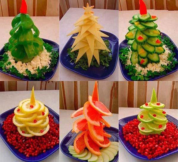 Новогоднее украшение блюд своими руками фото - Украшение блюд из овощей и фруктов с фотографиями